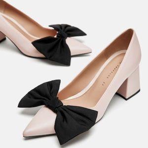 Zara medium heel pumps with bow